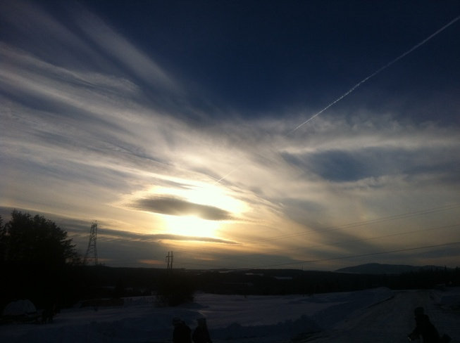 Sun dog sunset! Beechwood, New Brunswick Canada