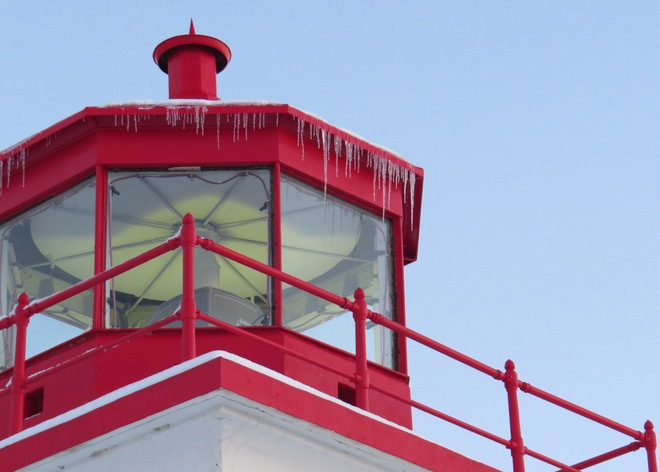 Goderich Lighthouse showing its teeth, while safely signalling in the lakeliners Goderich, Ontario Canada