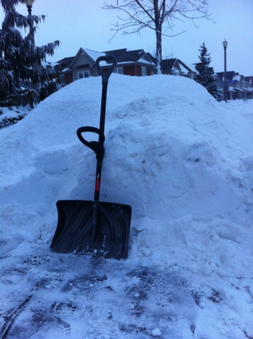 Huge snow mounds Grimsby, Ontario Canada