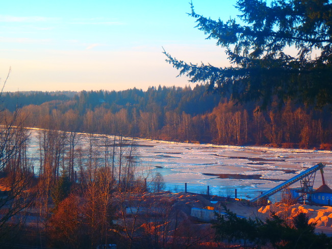 Frozen Fraser River Mission, British Columbia Canada