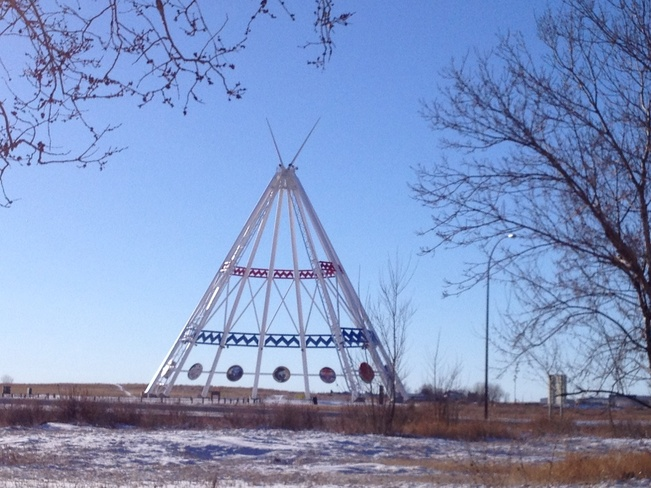Teepee framed by trees! Medicine Hat, Alberta Canada