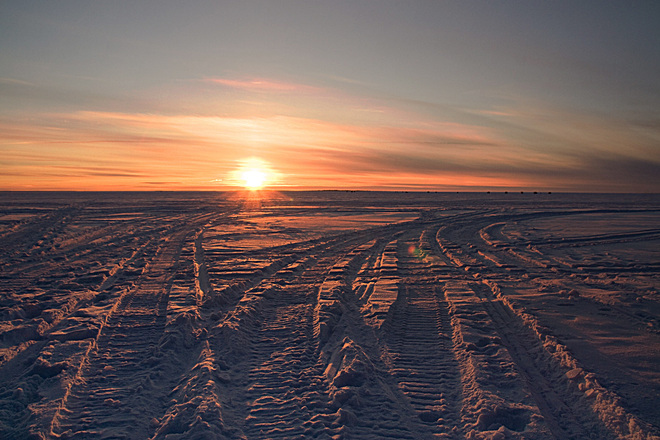 winter sunset North Bay, Ontario Canada