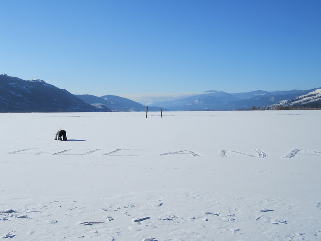 Writing on the lake Vernon, British Columbia Canada
