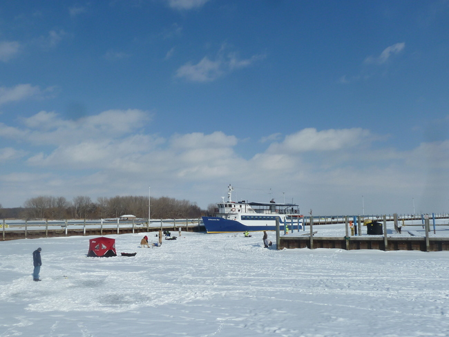Ice-fishing at Lakeview Marina Windsor, Ontario Canada