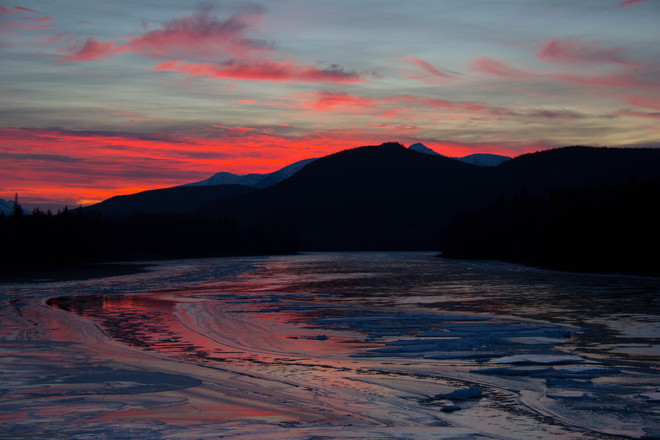 Winter Sunset on the Skeena River Terrace, British Columbia Canada