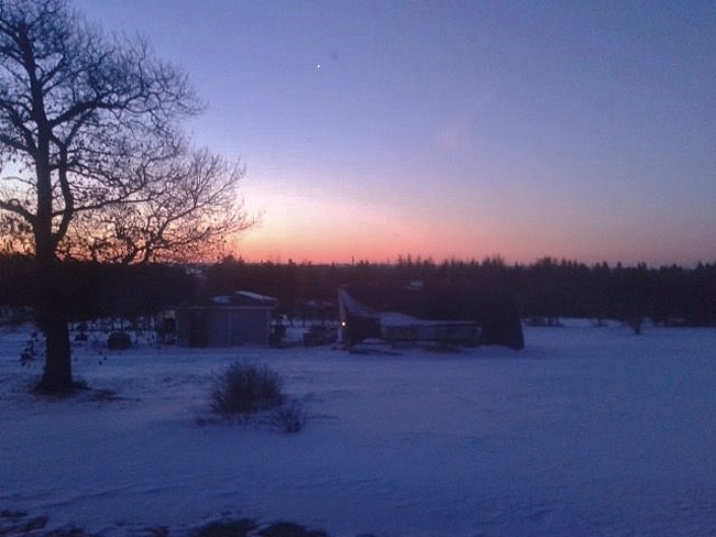 Sunrise with a bright bling bling shining Salisbury, New Brunswick Canada