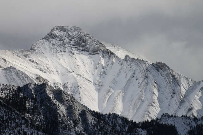 Fresh Snow on Mountain Peaks Canmore, Alberta Canada