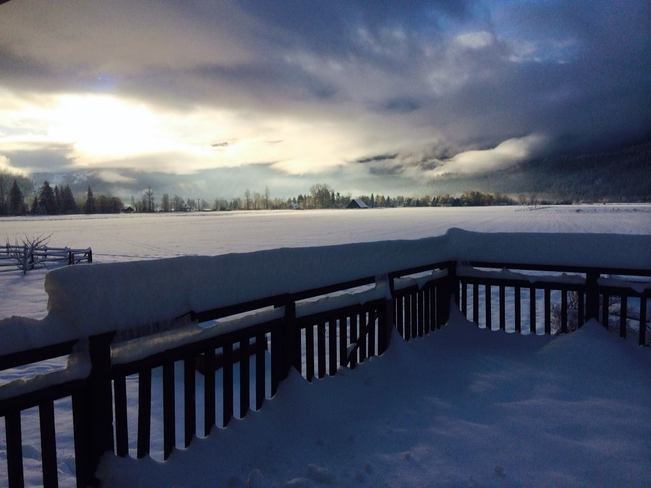 Morning porch view after snowfall Pemberton, British Columbia Canada