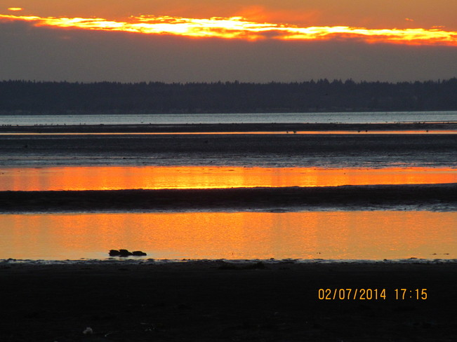 Sunset reflections Crescent Beach, British Columbia Canada