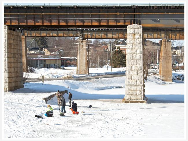 Ice Fishing on the Ganny river Port Hope, Ontario Canada