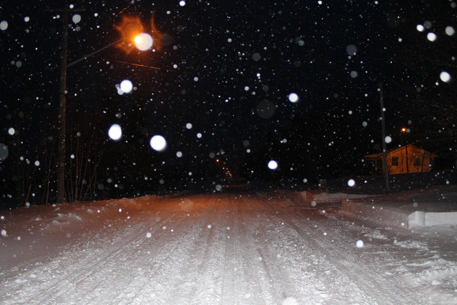 Snowy night in Moncton. Moncton, New Brunswick Canada