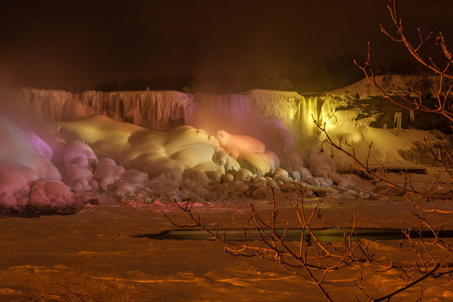 Illumination Lights on Niagara Falls in Winter Niagara Falls, Ontario Canada