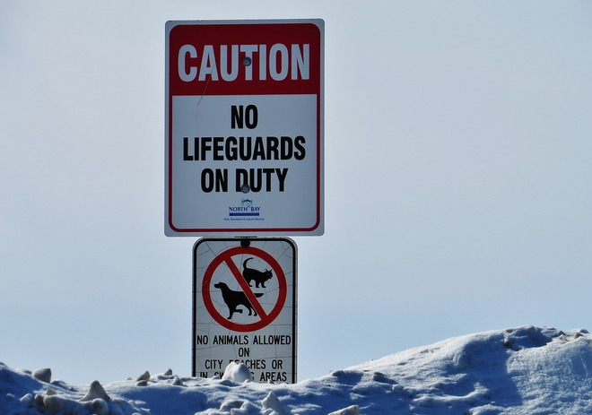 No Lifeguards? Cancel the swimming today! North Bay, Ontario Canada
