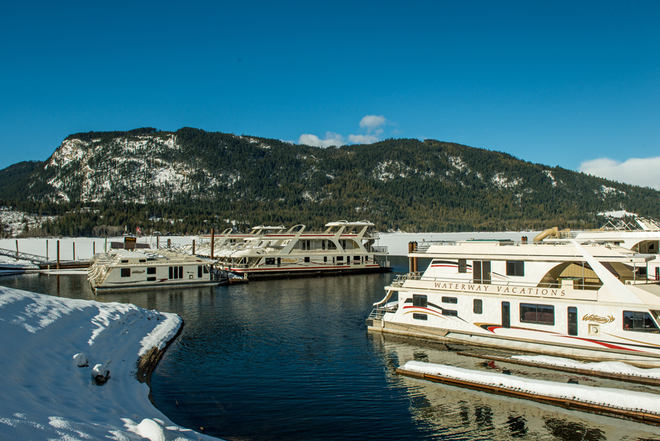 Waterway marina beautiful day Sicamous, British Columbia Canada