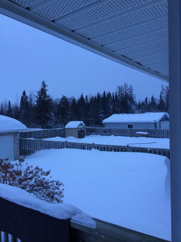 snow up to the fence! Thunder Bay, Ontario Canada