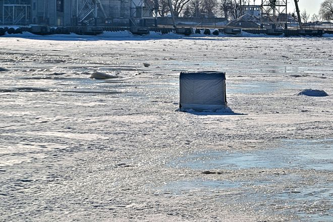 Ice Fishing Hut Goderich, Ontario Canada