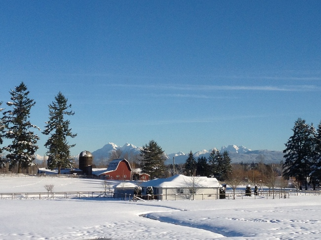 View of North Shore Mountains from Langley Township Langley, British Columbia Canada