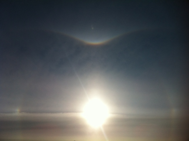 sun dogs on a cold morning Estevan, Saskatchewan Canada