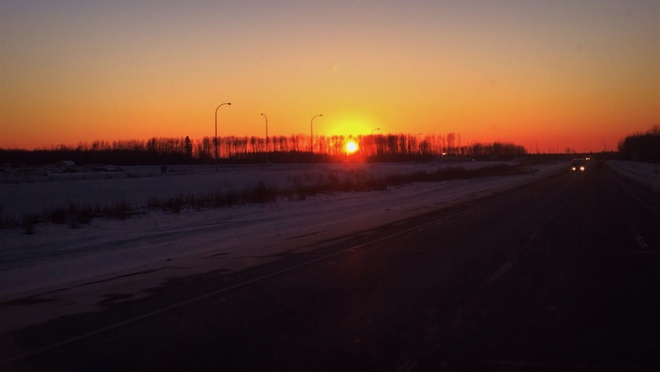 The end ,of a cold day. Fort McMurray, Alberta Canada