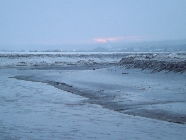 low tide thru the fine snow Port Williams, Nova Scotia Canada