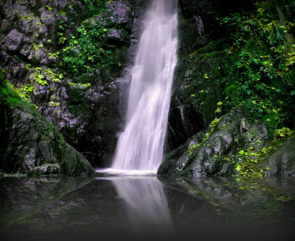 The waterfall at Goldstream Park Langford, British Columbia Canada