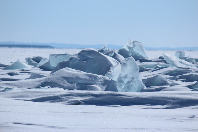 Ice by shores of Pancake Bay Sault Ste. Marie, Ontario Canada