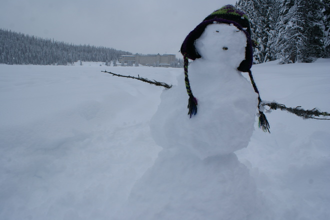 Snowman-on-the-lake Lake Louise, Alberta Canada