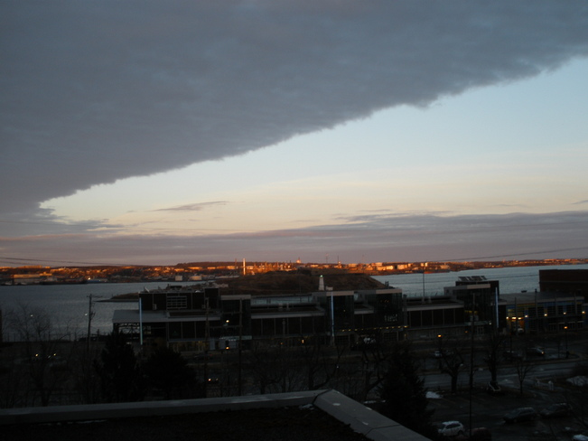 dark clouds moving in Halifax, Nova Scotia Canada
