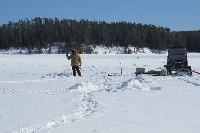 Ice fishing Timmins, Ontario Canada