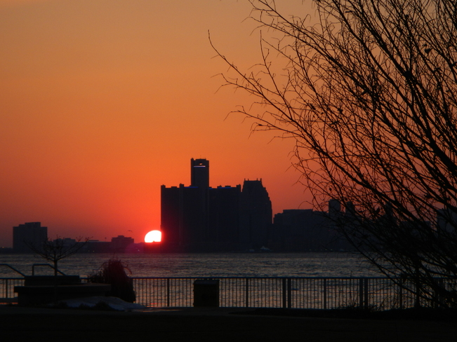 Detroit Skyline Sunset Windsor, Ontario Canada