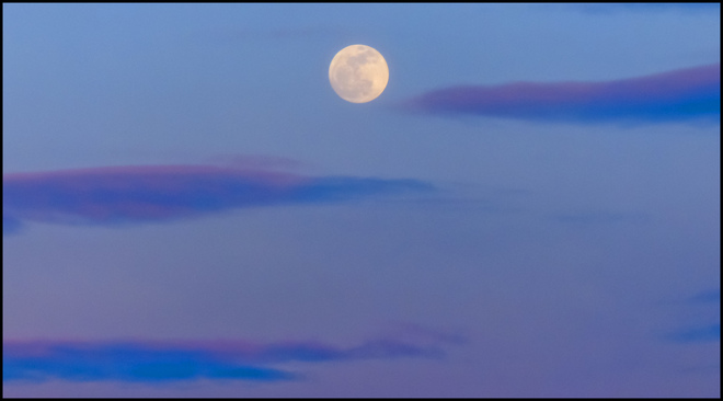 Rising full moon over Elliot Lake. Elliot Lake, Ontario Canada