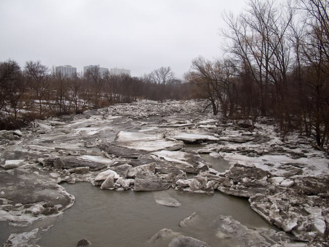 Ice jam on the Humber River Etobicoke, Ontario Canada