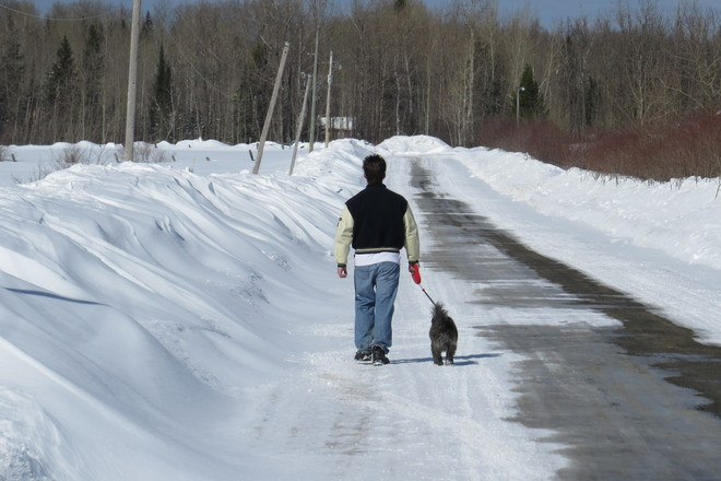 Walking the dog Timmins, Ontario Canada