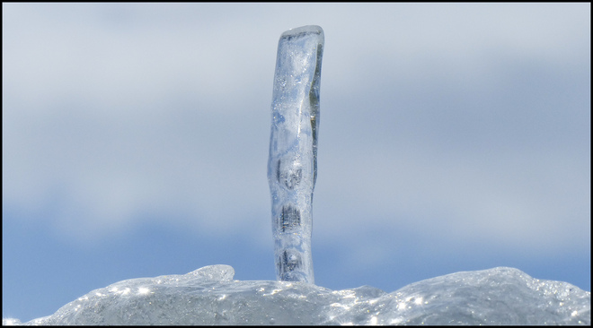 One fallen icicle out side my window. Elliot Lake, Ontario Canada