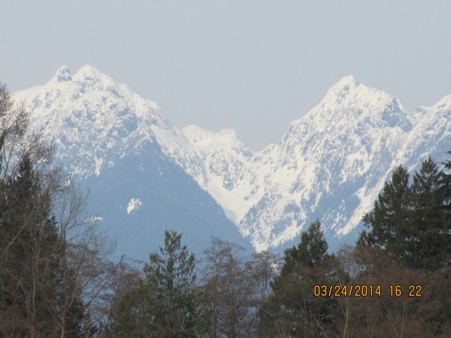 Fresh snow on the mountains Langley, British Columbia Canada