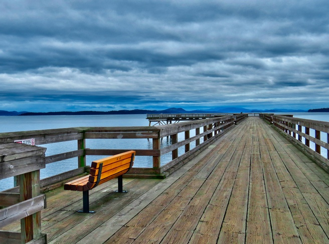 Rain Clouds Building Over Sidney Pier Sidney, British Columbia Canada
