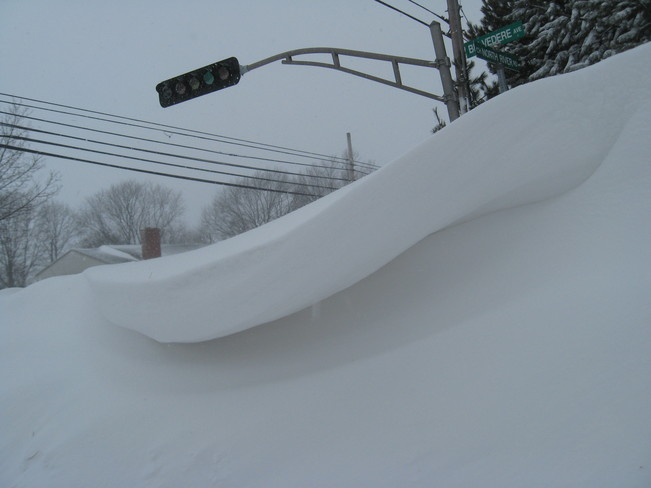 Snow drift on North River Rd. Charlottetown, Prince Edward Island Canada
