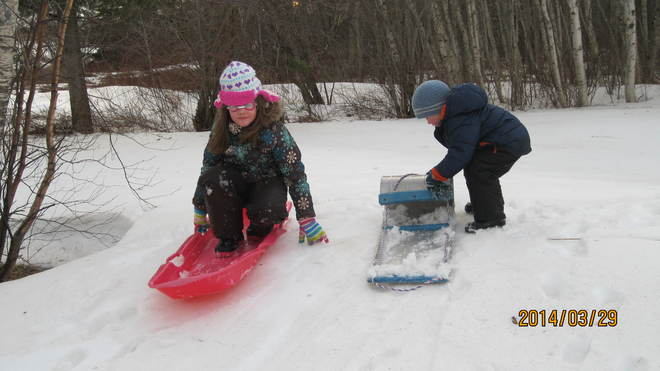just sledding back=ward with goggles on-you know!! Canning, Nova Scotia Canada