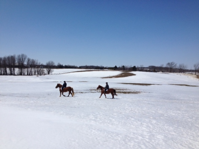 Riding the fields as the snow melts. Ayton, Ontario Canada