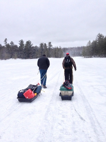 Winter camping in spring Haliburton, Ontario Canada