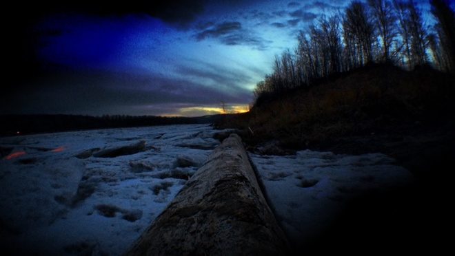 Sunset on the Athabasca river. Fort McMurray, Alberta Canada