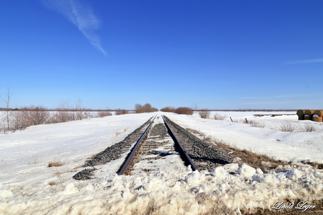 Snow on the Line Beausejour, Manitoba Canada