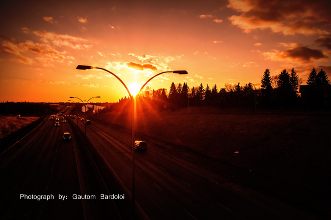 Amazing weather with beautiful Sunset Edmonton, Alberta Canada