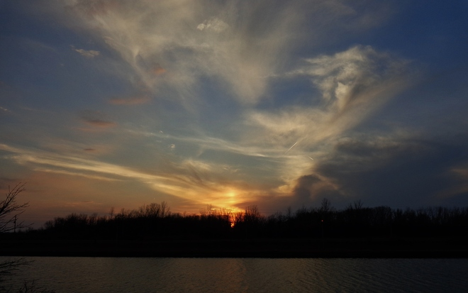 sunset over the canal Thorold South, Ontario Canada