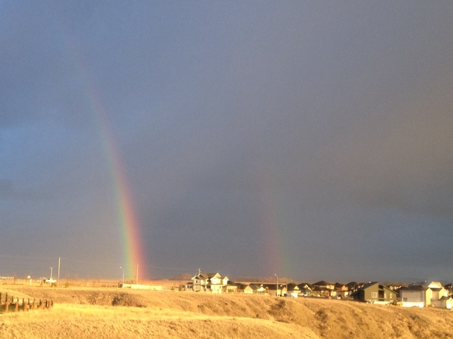 Double rainbow tonight........ Desert Blume, Alberta Canada