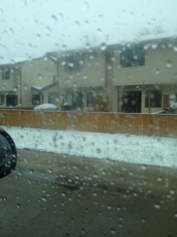snow in april Brooks, Alberta Canada