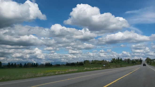 White cotton candy clouds. Surrey, British Columbia Canada