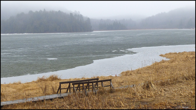 Elliot Lake's Horne Lake on this wet day. Elliot Lake, Ontario Canada