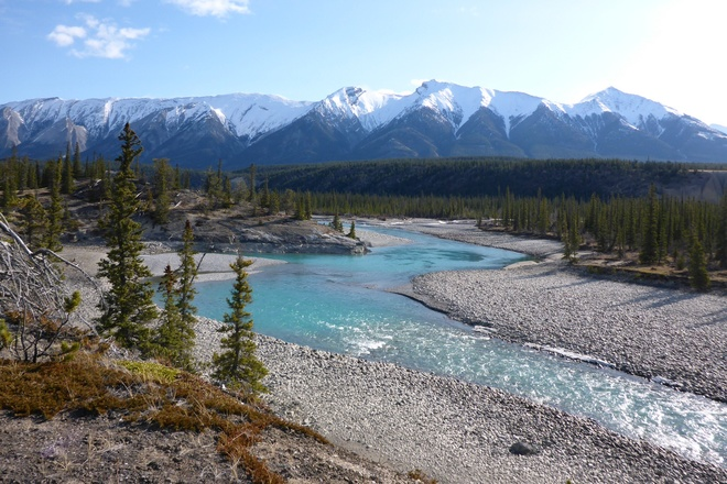 North Saskatchewan River at Kootenay Plains Nordegg, Alberta Canada