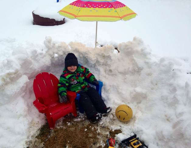 Snowfort with patio furniture Calgary, Alberta Canada